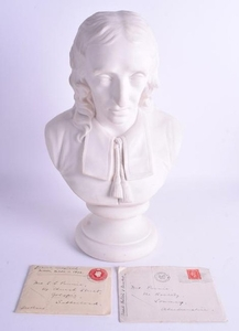 A LARGE 19TH CENTURY WEDGWOOD PARIAN WARE BUST OF