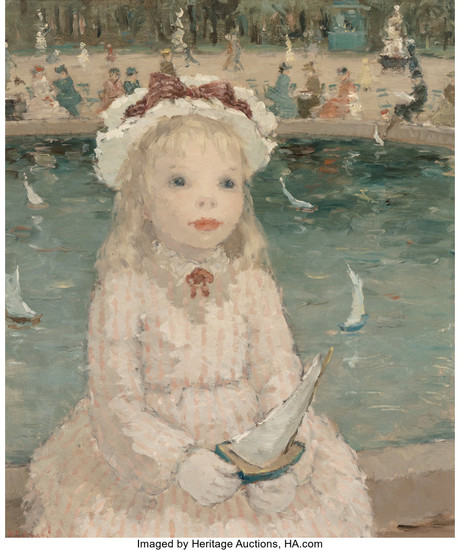 Dietz Edzard (1893-1963), Young Girl with a Toy Boat, Jasrdin des Tuileries, Paris