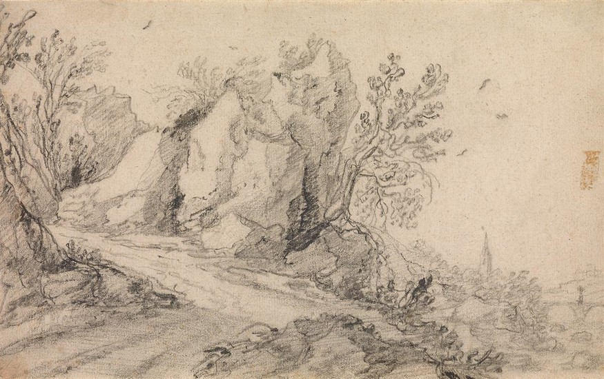 JAN WILDENS (ATTRIBUTED TO) (Antwerp 1586 1653 Antwerp) A Rocky Landscape with a Path along a Hill.
