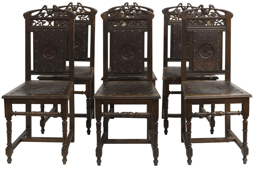 (lot of 6) Art Nouveau dining chairs circa 1910