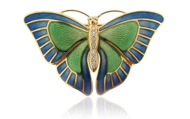 A diamond-set gold and enamel butterfly brooch pendant...