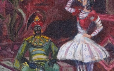 """Oil on canvas board, stage performers, unsigned, 13"""" x 10"""", ..."""