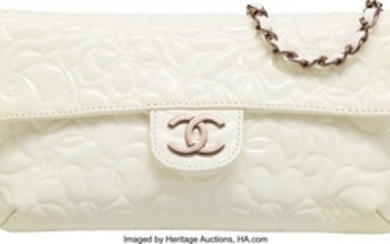 16073: Chanel White Patent Leather Camellia Embossed Cl