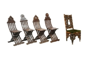 FOUR FOLDING CHAIRS AND ONE BACKREST CHAIR Egypt or