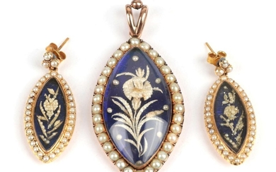 A Pearl Pendant and Earring Set, circa 1850, each with...