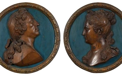 Rare Pair of Baroque Fruit Wood Portrait Panels