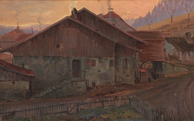 "Viggo Johansen: ""Italiensk landsby, Aften"". Italian village, evening. Signed V. J. Oil on canvas. 31×49 cm."