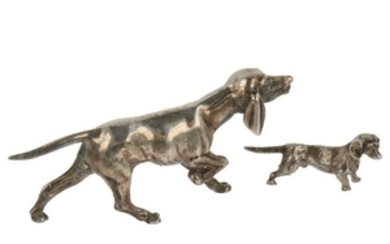 (2) Lot miniature dogs silver.