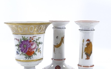 A French porcelain vase with painted botanical study and gil...