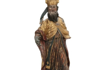 St. Nicolaus, an ecclesiastical painted and partly gilt carved wood figure, presumably Spain 18th century. H. 108 cm.