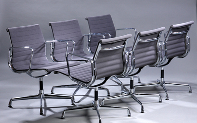 Charles Eames. Set of six lounge chairs, Model EA-108, grey hopsack (6)