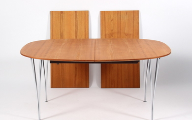 Piet Hein/Bruno Mathsson: Super-Ellipse table with two extension leaves. (3)