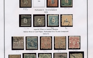 Japan. 1871–2005. Well-filled collection in 3 albums including many better stamps from the classic and after. Also some forgeries. Please inspect!