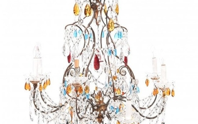 Italian Neoclassical Style Rock Crystal Eight Light