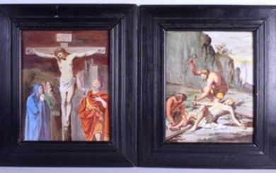 A LARGE PAIR OF 19TH CENTURY FRENCH PORCELAIN PLAQUES