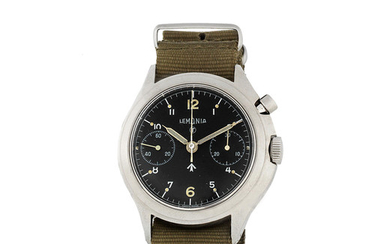 Lemania. A stainless steel military manual wind asymmetrical wristwatch issued to the Royal Air Force