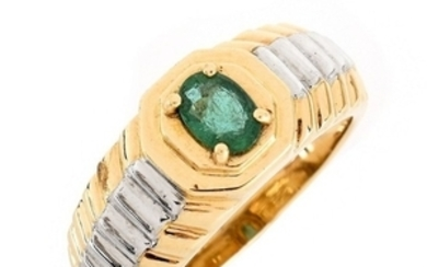 Man's Vintage Emerald and 14K Ring