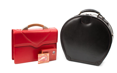 Two pieces of leather motoring luggage,