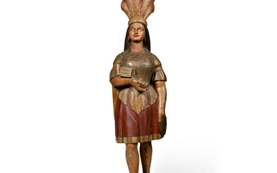 VERY FINE AND RARE CARVED AND POLYCHROME PAINT-DECORATED TOBACCONIST 'INDIAN PRINCESS' TRADE FIGURE, ATTRIBUTED TO THE SHOP OF SAMUEL ANDERSON ROBB (1851-1928), NEW YORK, CIRCA 1880