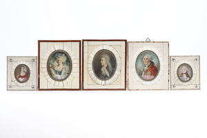 FRENCH SCHOOL, CIRCA 1920. Five engraved miniature portraits retouched in gouache.
