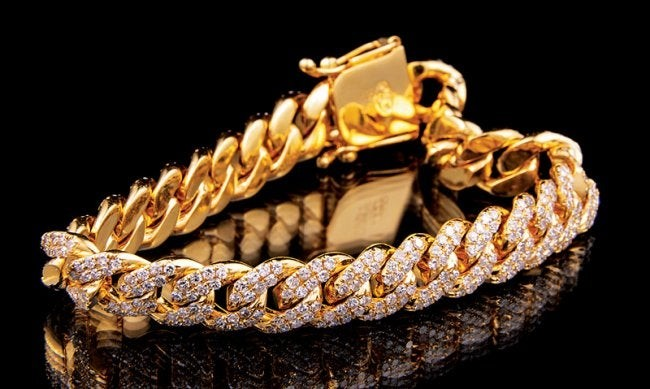 Gold and Diamond Curb Chain Bracelet