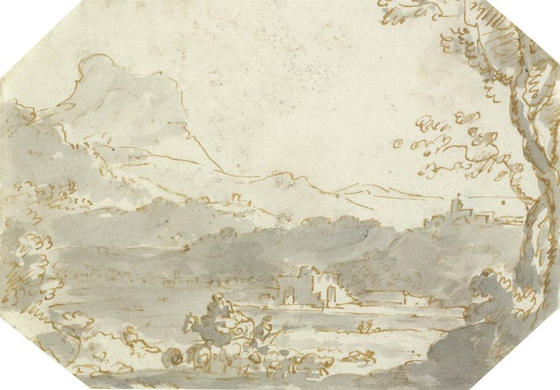 HERMAN VAN SWANEVELT (CIRCLE OF) (Woerden 1603 1655 Paris) A Landscape with Shepherds and a Flock.
