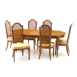 Lot Art Mediterranean Style Pecan Dining Set By Thomasville Furniture 20th Century