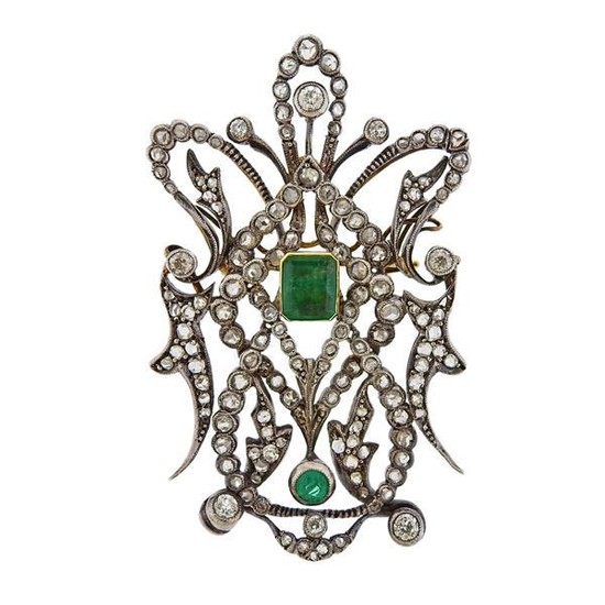 Silver 18k Gold Diamond Emerald Brooch Pendant