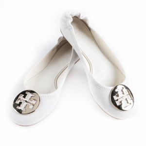 Tory Burch White Leather Ballet Flats