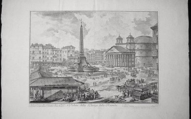 Piranesi, Giovanni: PIAZZA DELLA ROTONDA, WITH PANTHEON AND OBELISK, Year 1751.