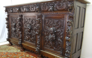 9TH C. RENAISSANCE REVIVAL CARVED SIDEBOARD