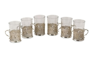 SIX SILVER FILIGREE HOLDERS FOR TEA CUPS Pahlavi Iran,