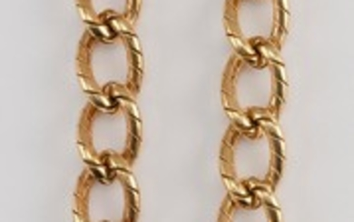"""TIFFANY & CO. 18KT GOLD NECKLACE Heavy banded oval link. Length 16.25"""". Approx. 51.17 dwt. Includes original Tiffany & Co. case and..."""