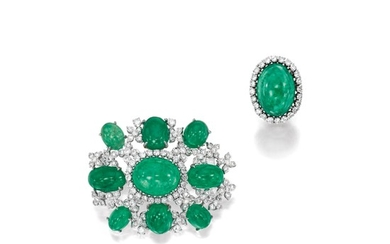 Emerald and Diamond Obi Clasp / Brooch and Ring