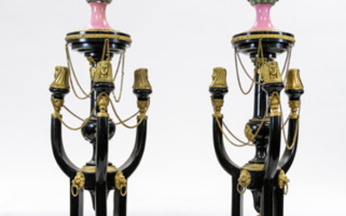 A PAIR OF FRENCH EGYPTIAN REVIVAL BRONZE VASES WITH STANDS, 19TH CENTURY