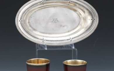 Tiffany & Co. Sterling Silver Pastry Boat and Two Enameled Mint Julep Cups