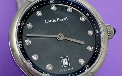 Louis Erard - Diamond Watch Romance Collection Black Stainless Steel Swiss Made - 10800AA19.BMA23 - Women - Brand New