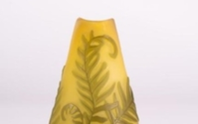 EMILE GALLE' Meplat truncated vase in double glass,