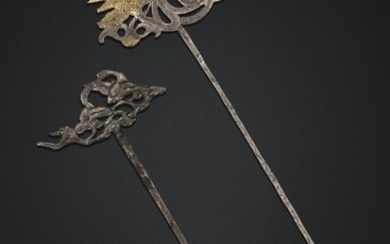 TWO SILVER HAIRPINS, 10TH CENTURY