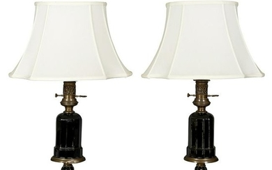 Victorian faceted black glass table lamps