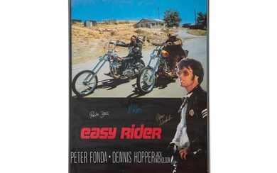 Easy Rider Poster Signed by Peter Fonda, Dennis Hopper, and Jack Nicholson