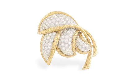 A GOLD AND DIAMOND BROOCH,...