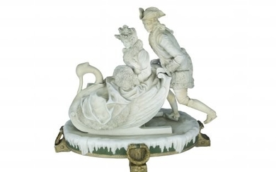 Group of statues Swan-shaped sleigh with seated checkers, in winter...