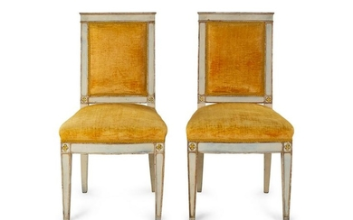 A Pair of Louis XVI Painted Side Chairs