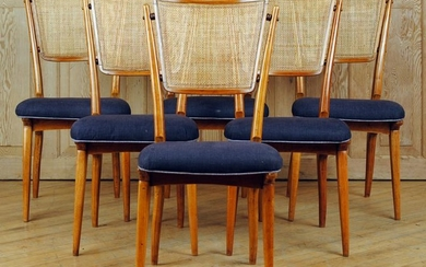 SET 6 MID CENTURY MODERN DINING CHAIRS CANE BACKS
