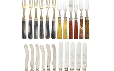 Two Sets of Metal and Hardstone Fruit Forks and Knives