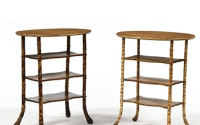 Two Similar English Burnt Bamboo Side Tables