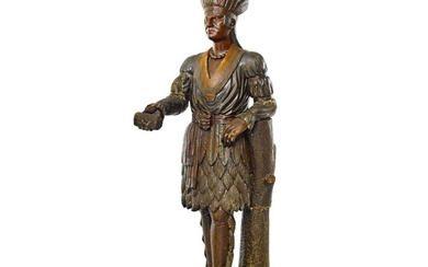 VERY FINE AND RARE CARVED AND POLYCHROME PAINT-DECORATED TOBACCONIST 'INDIAN WARRIOR' TRADE FIGURE, THOMAS BROOKS (1811-1887),, NEW YORK, CIRCA 1860