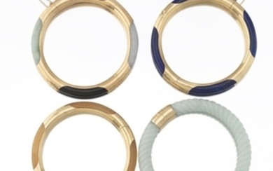 Four Carved Stone and Gold Bangle Bracelets