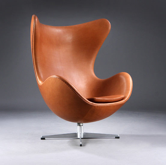 Egg Chair Cognac.Lot Art Arne Jacobsen The Egg Early Model 1960s Lounge